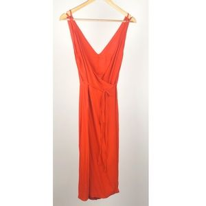 TOPSHOP Red/Orange Plunge Neck Wrap Dress - Size 2